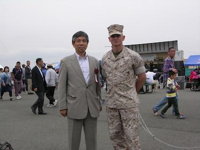 9 May 2015 CATC Camp Fuji, Gotemba, Shizuoka-ken, Japan  Mr. Hiroshi Marui, Director General, South Kanto Defense Bureau and Col James Fullwood, Commanding Officer, CATC Camp Fuji.
