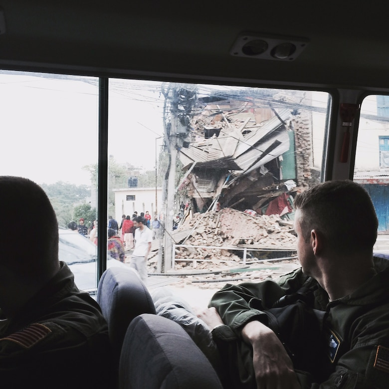 Members of the U.S. Air Force view the damage in Nepal firsthand following the devastating 7.8 magnitude earthquake that damaged many parts of the country. (Courtesy photo)