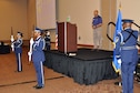 The Air Force Reserve's 910th Airlift Wing Base Honor Guard posts the colors during opening ceremonies at a local Yellow Ribbon Program event at the Kalahari resort here, May 9, 2015. The 910th, based at nearby Youngstown Air Reserve Station, Ohio (YARS), hosted the May 8 – 10, 2015 event which was attended by more than 90 Citizen Airmen and their family members. The Yellow Ribbon Program is mandated by the U.S. Congress and is designed to provide tools to Servicemembers and their families to aid them before, during and after an extended military tour. (U.S. Air Force photo by Master Sgt. Bob Barko Jr. /Released)