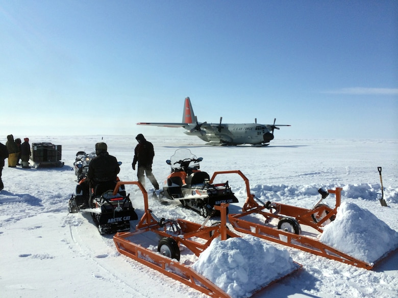 A 109th Airlift Wing LC-130 lands at the remote location in the vicinity of Victoria Strait, Canada, for the first time April 14, 2015, after a group of seven Airmen spent 10 days grooming the ski-way. The aircraft and Airmen were supporting Canada's annual Operation Nunalivut. (U.S. Air National Guard photo by Maj. Matthew Sala/Released)
