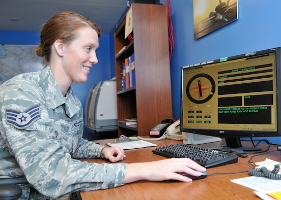 Staff Sgt. Anna Harris, 319th Operations Support Squadron weather forecaster, talks about the airfield observing system which pulls data from sensors to give present weather conditions on Grand Forks Air Force Base, N.D., May 12, 2015. Harris was selected as the Warrior of the Week for the second week of May 2015. (U.S. Air Force photo by Senior Airman Xavier Navarro/released)