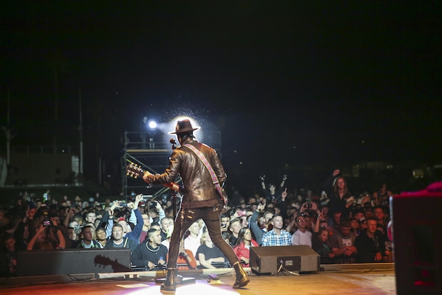 Stevie D, guitarist, Buckcherry, performs during the 'We Salute You Fest' at Lance Cpl. Torrey L. Gray Field, May 8, 2015. The band Adelitas Way opened the concert for Buckcherry's performance.   (Official Marine Corps photo by Pfc. Levi Schultz/Released)