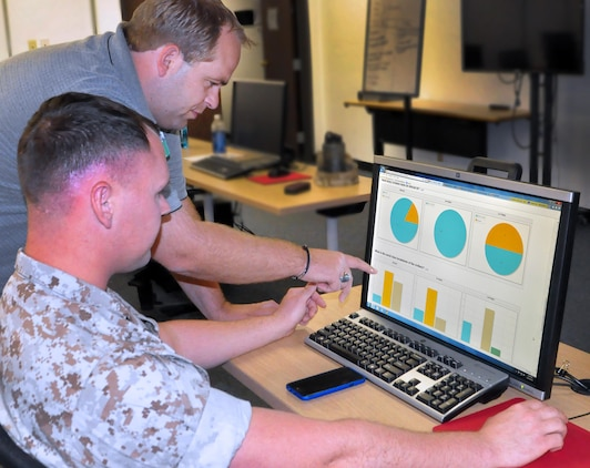 Brian D. Carlin, who supports the project office for the Marine Civil Information Management System at Marine Corps Systems Command, provides over-the-shoulder instruction on MARCIMS capabilities to Cpl. Jeremy Orr of the I Marine Expeditionary Force Civil Affair Unit. MCSC developed MARCIMS to allow Marine civil affair teams to collect and upload information on the availability of medical, water, sewer or other facilities needed to execute relief or other civil operations. (U.S. Marine Corps photo by Wil Williams)