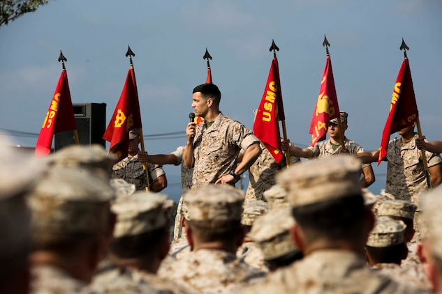 Col. Romin Dasmalchi speaks to the Marines of Battalion Landing Team 2nd Battalion, 4th Marines, 31st Marine Expeditionary Unit, May 8, 2015. The Marines were attached to the 31st MEU as the ground combat element from Nov. 2014 to May 2015. Dasmalchi is the commanding officer for the 31st MEU. (U.S. Marine Corps photo by Cpl. Ryan C. Mains/ Released)