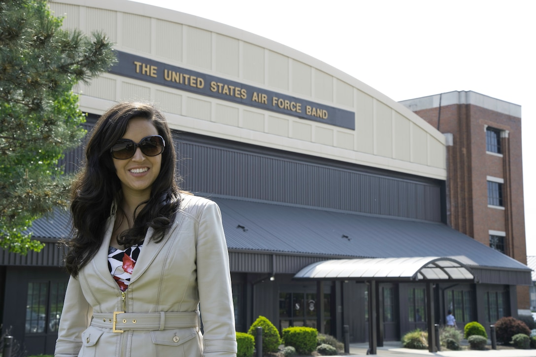 Kristen Basore, audition participant, stands outside Hangar Two at Joint Base Anacostia-Bolling, D.C., after an audition May 5, 2015. Basore, an Ohio native, is an audition finalist for a soprano position in the U.S. Air Force Band's Singing Sergeants. (U.S. Air Force photo/Airman 1st Class Philip Bryant)