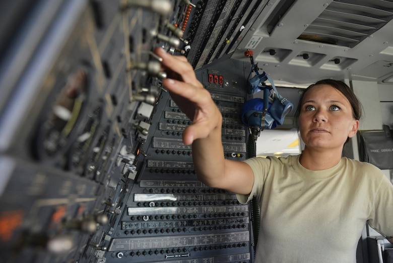 Tech Sgt. Samantha turns on auxiliary power units on a KC-10 Extender at an undisclosed location in Southwest Asia May 12, 2015. The auxiliary power units provide power and air to the aircraft while on the ground. Samantha is an electronics and environmental technician assigned to the Expeditionary Aircraft Maintenance Squadron. (U.S. Air Force photo/Tech. Sgt. Christopher Boitz)
