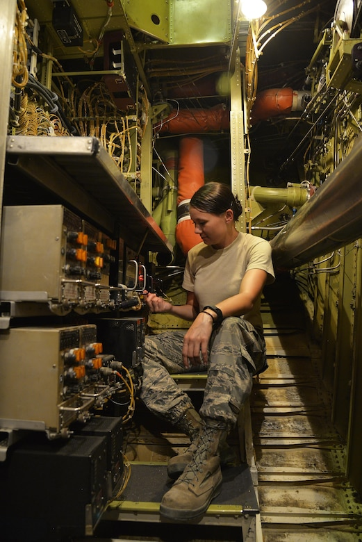Tech Sgt. Samantha performs a bite check on a pneumatic controller on a KC-10 Extender at an undisclosed location in Southwest Asia May 12, 2015. The bite check ensures the integrity of several components that pull air from the engine. Samantha is an electronics and environmental technician assigned to the Expeditionary Aircraft Maintenance Squadron. (U.S. Air Force photo/Tech. Sgt. Christopher Boitz)