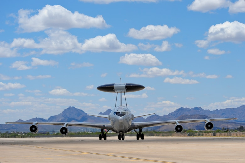 An E-3 Airborne Warning and Control System aircraft from Tinker Air Force Base, Okla., taxis at Davis-Monthan AFB, Ariz., May 16, 2015. Eight AWACS arrived here her due to tornado alerts in Oklahoma. (U.S. Air Force photo by Airman 1st Class Chris Massey/Released)