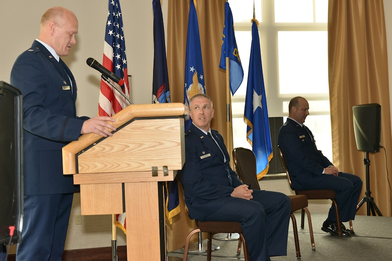 New 107th Operations Group Commander Lt. Col. Gary R. Charlton II addresses guests, and the men and women of the unit attending the change of command ceremony at the Niagara Falls Air Reserve Station, May 16, 2015.