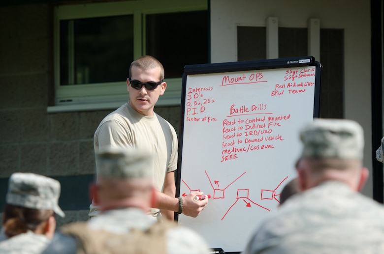 Staff Sgt. Kyle Clark, a security forces craftsman from the Kentucky Air National Guard's 123rd Security Forces Squadron, teaches a security tactics class during a field training exercise at the Wendell H. Ford Regional Training Center in Greenville, Ky., on Sept. 17, 2014. The unit's Airmen conducted a five-day, combat-skills training course to prepare for future deployments. (U.S. Air National Guard photo by Master Sgt. Phil Speck)