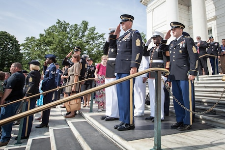 Senior Enlisted Leaders of the U.S. Armed Forces participate in a wreath laying ceremony at the Tomb of the Unknown Soldier in honor of National Armed Forces Day at Arlington National Cemetery in Arlington, VA., May 16, 2015. (U.S. Marine Corps photo by Sgt. Melissa Marnell)