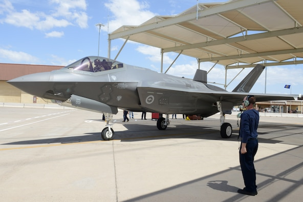 Royal Australian Air Force Maj. Andrew Jackson, 61st Fighter Squadron RAAF squadron leader, taxis out to the runway at Luke Air Force Base, Arizona, May 14, 2015. Jackson is the first Australian pilot to fly the RAAF F-35 at Luke. (U.S. Air Force photo by Senior Airman James Hensley)