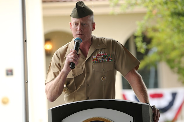 Brig. Gen. Edward D. Banta, Commanding General, Marine Corps Base Camp Pendleton, Marine Corps Installations – West, gives his remarks during the opening ceremony for the new Fisher House, May 15. The new Camp Pendleton Fisher House will provide free temporary housing facilities for military families visiting wounded Marines and Sailors at the base Naval Hospital.