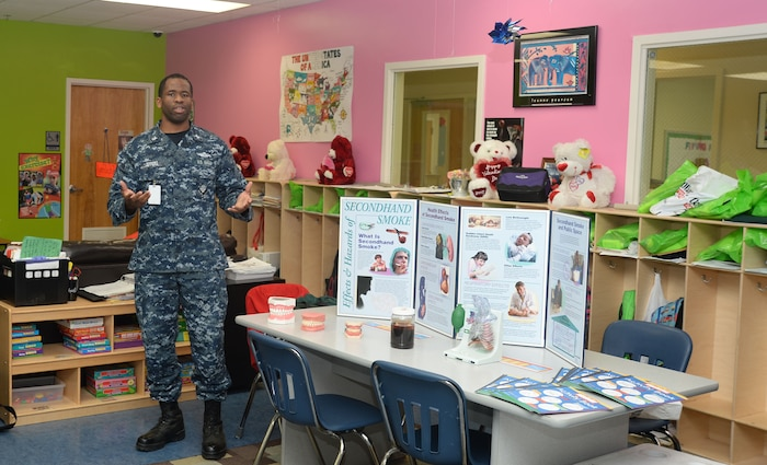Hospital Corpsman 1st Class Kishaun Jeffers, of Naval Branch Health Clinic Albany, Ga., is named senior sailor of the quarter for Naval Hospital Jacksonville, Florida's hospital and five branch health clinics.