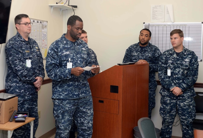 Hospital Corpsman 1st Class Kishaun Jeffers, of Naval Branch Health Clinic Albany, is named senior sailor of the quarter for Naval Hospital Jacksonville, Florida's hospital and five branch health clinics.