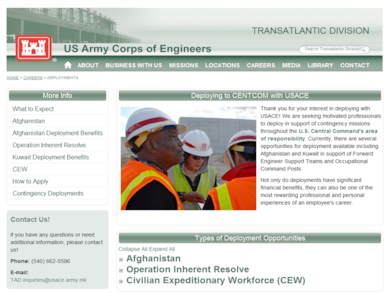 Deploying with the U.S. Army Corps of Engineers to places in the CENTCOM area of responsibility like Afghanistan or to the U.S. Central Command's area of responsibility in support of Operation Inherent Resolve can be a rewarding and challenging experience.
