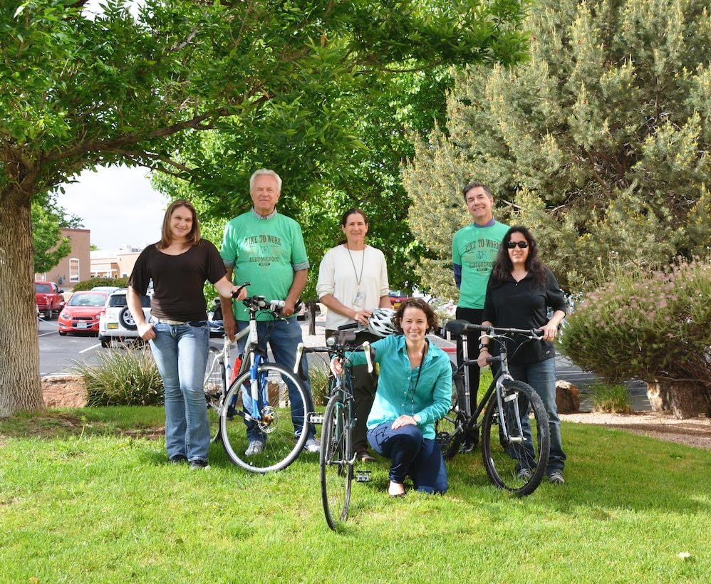 ALBUQUERQUE, N.M. -- Several District employees are participating in the Cascade Bicycle Club's Bike Month Challenge Presented by Adobe. The team, known as the Rio Grande Corps-muters, pose for a photo on National Bike to Work Day, May 15, 2015.