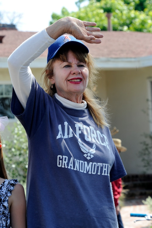 An Air Force grandmother shows her pride during the annual Torrance Armed Forces Day parade, May 16. (Photo by Joe Juarez)