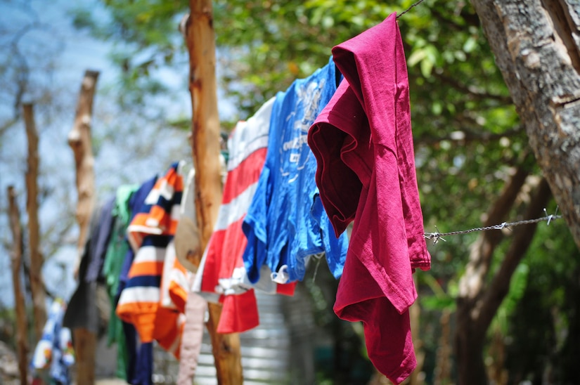 Clothes hang on a line to dry at the Saint Anthony of Padua Boys Home outside La Paz, Honduras May 16, 2015. Members from the 1st Battalion, 228th Aviation Regiment and Joint Task Force-Bravo visited the boys there as part of a regular outreach effort. (U.S. Air Force photo by Capt. Christopher Love)