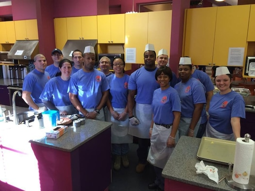 Approximately 15 members of the Tennessee Air National Guard's 164th Airlift Wing Mission Support Group, out of Memphis, Tenn., volunteered their time at St. Jude's Ronald McDonald House, serving breakfast to more than 80 families and patients on Dec. 21, 2014. (Left to right) Staff Sgt. Troy Pollock, Staff Sgt. Tim Andrassy, Tech Sgt. Elizabeth von Allmen, SSgt. Robert Morgan, TSgt. Al Wilson, TSgt. Nathaniel von Allmen, SSgt. Vanessa Nickles, Senior Airmen Terrance Jones, Airman 1st Class John Oliver, Master Sgt. Vanilla Nixon, Tech Sgt. Sherveta Campbell, Staff Sgt. Shane Howell, and Tech Sgt. Melissa Scott. (US Air National Guard photo provided by the 164th Airlift Wing/RELEASED)