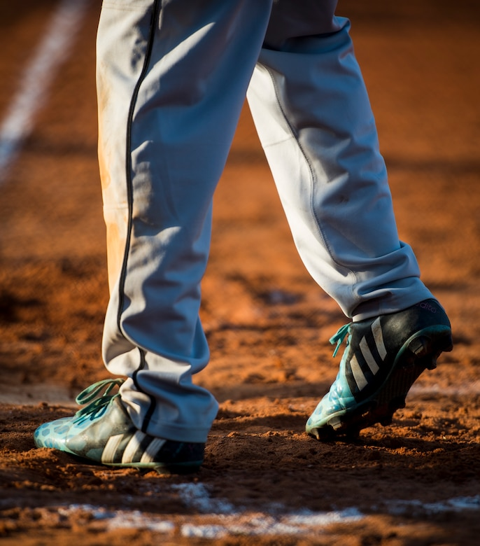 A player walks to the batter's box during a softball game, May 13, 2015 at Joint Base Charleston – Air Base, S.C. Joint Base Charleston's 2015 Intramural Softball Season is expected to run till mid-June. (U.S. Air Force photo/Airman 1st Class Clayton Cupit)