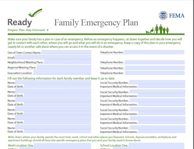 Make sure your family has a plan in case of an emergency. Before an emergency happens, sit down together and decide how you will get in contact with each other, where you will go and what you will do in an emergency. Keep a copy of this plan in your emergency supply kit or another safe place where you can access it in the event of a disaster. Visit link in the article for a template that can be filled in online and saved or printed on your local computer system. (Courtesy photo)