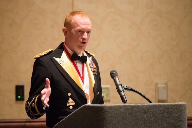 Army Maj. Chris Dempsey introduces his father, Army Gen. Martin E. Dempsey, chairman of the Joint Chiefs of Staff, at the 2nd Armored Brigade Combat Team Ball in Junction City, Kan., May 15, 2015. The chairman was the keynote speaker at the event.
