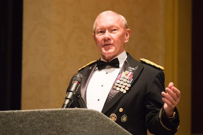 Army Gen. Martin E. Dempsey, chairman of the Joint Chiefs of Staff, gives remarks at the 2nd Armored Brigade Combat Team Ball in Junction City, Kan., May 15, 2015.