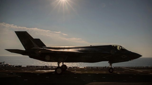 An F-35B Lightning II Joint Strike Fighter idles on the flight deck of the USS Wasp (LHD-1) in preparation for take-off, May 18, 2015. The short take-off, vertical landing capabilities of the F-35B are crucial to the mission of the Marine Corps and necessary for operation aboard a Navy amphibious ship. The aircraft are stationed with Marine Fighter Attack Training Squadron 501, Marine Aircraft Group 31, 2nd Marine Aircraft Wing, Beaufort, South Carolina and Marine Fighter Attack Squadron 121, Marine Aircraft Group 13, 3rd Marine Aircraft Wing, Yuma, Arizona. (U.S. Marine Corps photo by Lance Cpl. Remington Hall/Released)