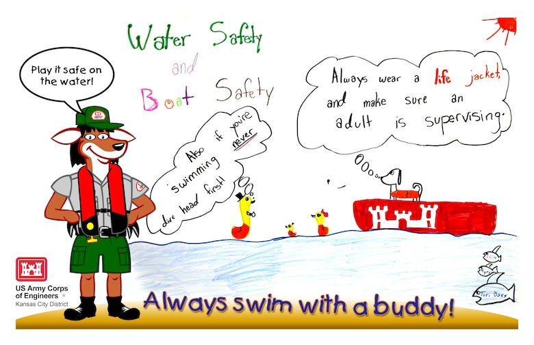 Theme focused on the importance of being safely prepared as a family during all types of emergencies. This poster focues on Water and Boating Safety.