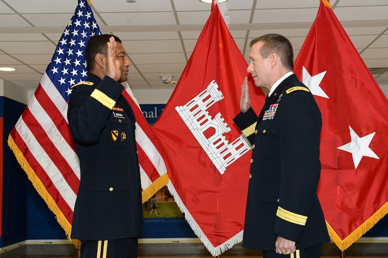 Maj. Gen. Robert D. Carlson, the commanding general of U.S. Army Corps of Engineers, Transatlantic Division, was promoted in a ceremony at the Pentagon May 15. Lt. Gen. Thomas P. Bostick, the USACE commanding general and 53rd chief of engineers, promoted Carlson.
