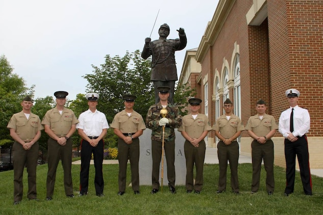 On May 14-15, 2015, Drum Majors from fleet Marine Corps bands, Washington, D.C. service bands, and the Marine Band of the Royal Netherlands Navy came together for a Drum Major clinic to hone their skills and share ideas. (U.S. Marine Corps photo by Staff Sgt. Rachel Ghadiali/released)