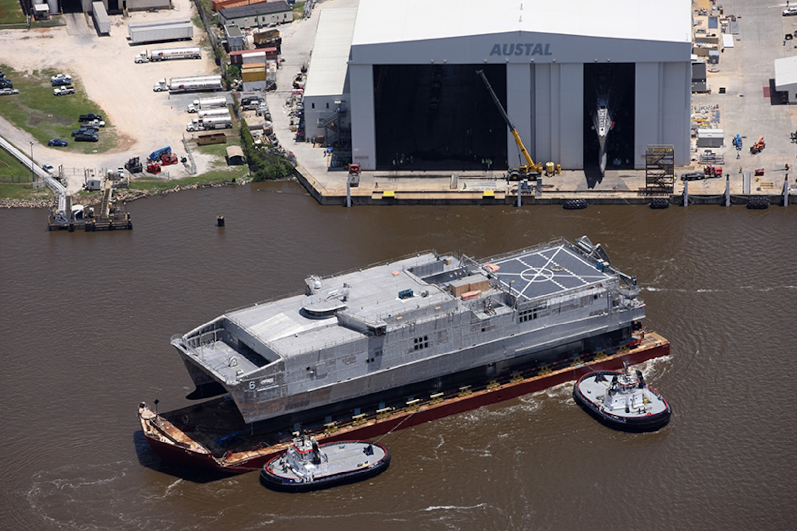 MOBILE, Alabama - (May 19, 2015) - The Navy's newest Joint High Speed Vessel (JHSV 6), the future USNS Brunswick, was launched from the Austal USA shipyard.