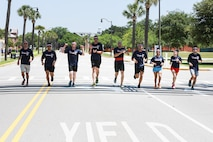 Team I B Profun participates in the Centennial 100k Relay Race aboard Marine Corps Recruit Depot Parris Island, S.C., May 16, 2015. Team I B Profun won the race with a time of seven hours and 26 minutes. (Photo by Lance Cpl. Allison Lotz)
