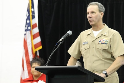 NSWC Crane Commanding Officer CAPT Jeffrey Elder provides remarks at the Crane Division's 18th annual Buy Indiana Expo Tuesday at French Lick Resort and Casino.