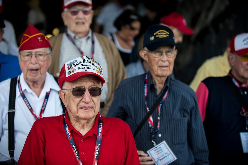 Veterans from the 1944 Anzio Beachhead Invasion stand inside the belly of a C-17 Globemaster III, May 15, 2015 at Joint Base Charleston, S.C. during a tour of the installation. The veterans were in Charleston to celebrate what could be their last reunion event together and to share their stories with the servicemembers stationed here. The invasion of Anzio, near the outskirts of Rome, began Jan. 22, 1944, lasted four months and took the lives of nearly 2,800 Americans . (U.S. Air Force photo/Senior Airman Jared Trimarchi)