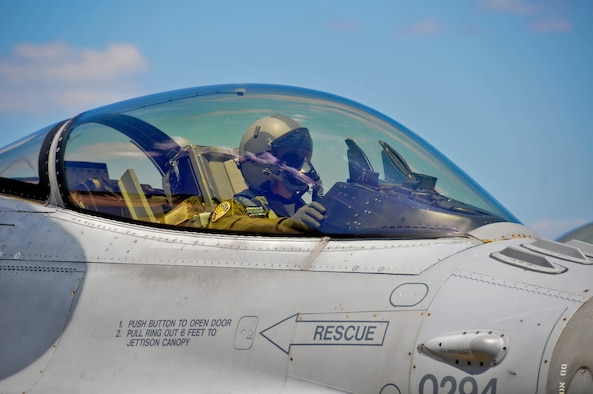 A picture of U.S. Air Force Lt. Col. Neal Snetsky, F-16 pilot with the 177th Fighter Wing, preparing to taxi his Fighting Falcon.