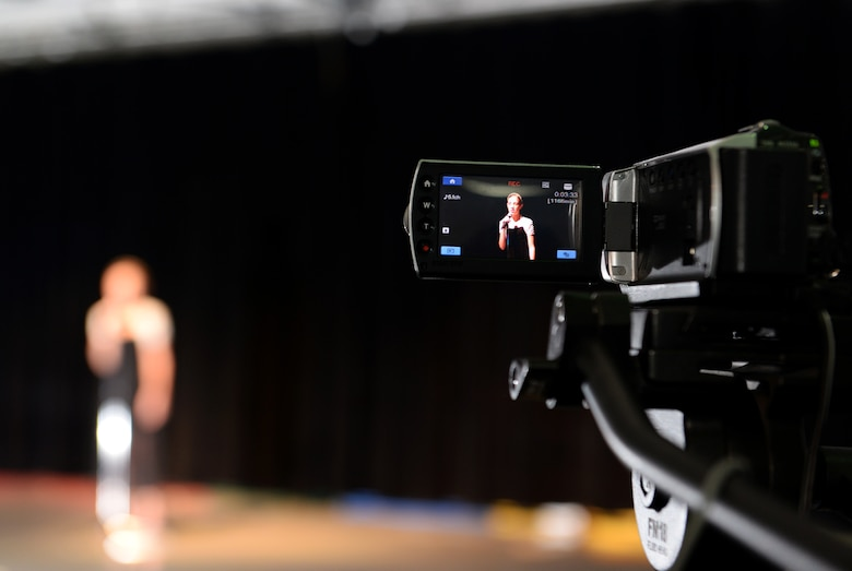 A camera records an audition for Operation Talent Search May 7, 2015, at Andersen Air Force Base, Guam. The overall winner for Andersen will receive a trophy and get the opportunity to compete at the Air Force level. (U.S. Air Force photo by Senior Airman Amanda Morris/Released)