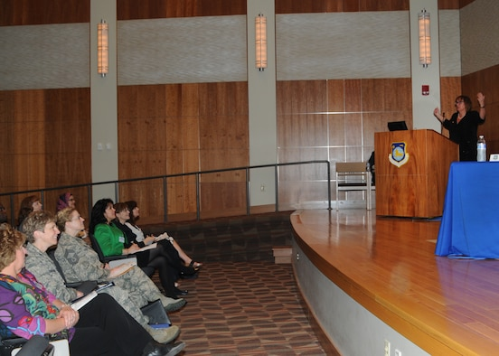 WRIGHT-PATTERSON AIR FORCE BASE, Ohio – Dr. Eileen Preisser (right) speaks at the Women's Career Panel at the National Air and Space Intelligence Center (NASIC), Wednesday, May 6, 2015. Dr. Preisser was the event's keynote speaker and spoke about finding and creating meaning for women in the workplace. (U.S. Air Force photo by Staff Sgt. Marianne E. Lane)