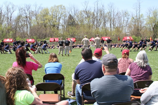 The crowd of family and friends observes future Marines competing in tug-of-war during Recruiting Station Frederick's 2015 Annual Pool Function April 18, 2015 at Frederick Community College in Frederick, Maryland. The participants came from areas of Maryland, Virginia, and West Virginia, to compete in other physical activities including pull-ups, crunches and ammunition-can lifts. (U.S. Marine Corps photo by Sgt. Anthony J. Kirby/Released)