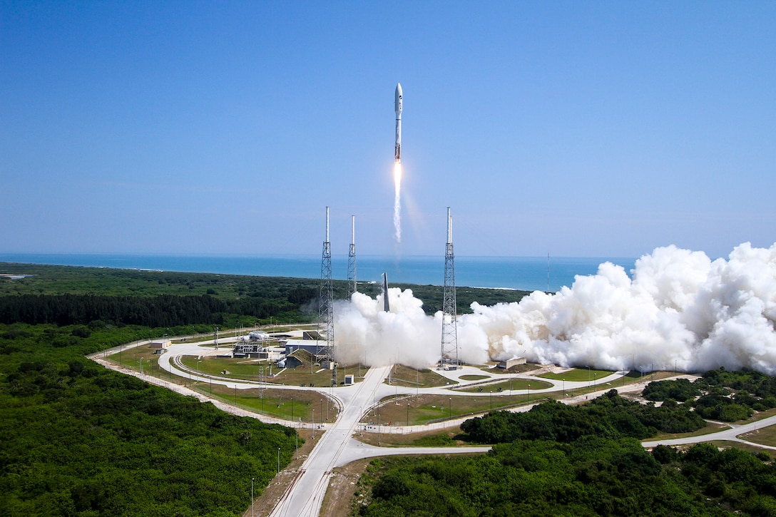 An Atlas V rocket successfully launches the AFSPC-5 mission from Cape Canaveral Air Force Station, Fla., May 20, 2015.(Courtesy photo/United Launch Alliance)