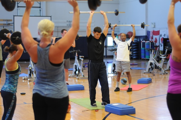 Members of the Niagara Falls Air Reserve Station participate in National Employee Fitness Day at the base fitness center on May 20, 2015. Personnel performed different exercises during the organized event. (U.S. Air Force photo by Staff Sgt. Matthew Burke)