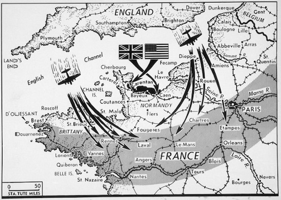 A map of D-Day, the Allied invasion of Normady, France, June 6, 1944. (Courtesy graphic/Released)