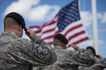 The 82nd Training Wing Security Forces Airmen and officers from the Wichita Falls Police Department salute the lowering of the U.S. flag during the National Police Week retreat ceremony at Sheppard Air Force Base, Texas, May 15, 2015. Although National Police Week honors those who gave their life in the line of duty, it also honors the sacrifices police make to ensure the safety of others. (U.S. Air Force photo by Senior Airman Kyle Gese)
