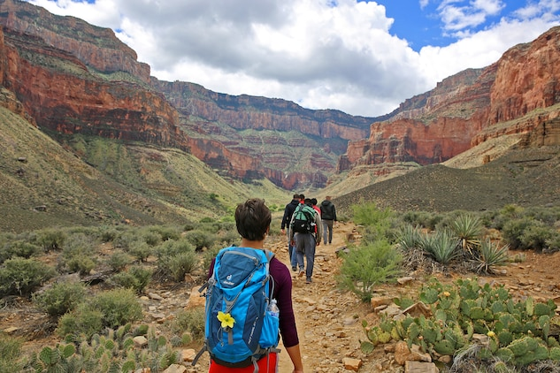 Marines hike up from the plateau near the base of the Grand Canyon during the Single Marine Program Grand Canyon Trip, May 16.The Single Marine Program offers trips to different recreational destinations such as Big Bear Lake, the Grand Canyon, Las Vegas and San Francisco. For more information on the available programs, please visit http://www.mccscp.com/smp