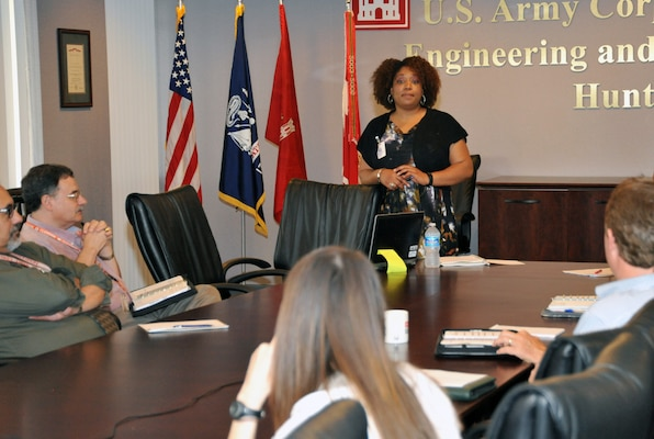 Kristi Crear, U.S. Army Corps of Engineers program manager for Civilian Career Program (CP) 18, takes questions from Huntsville Center supervisors regarding the Presidential Management Fellows program May 20 at the Center.