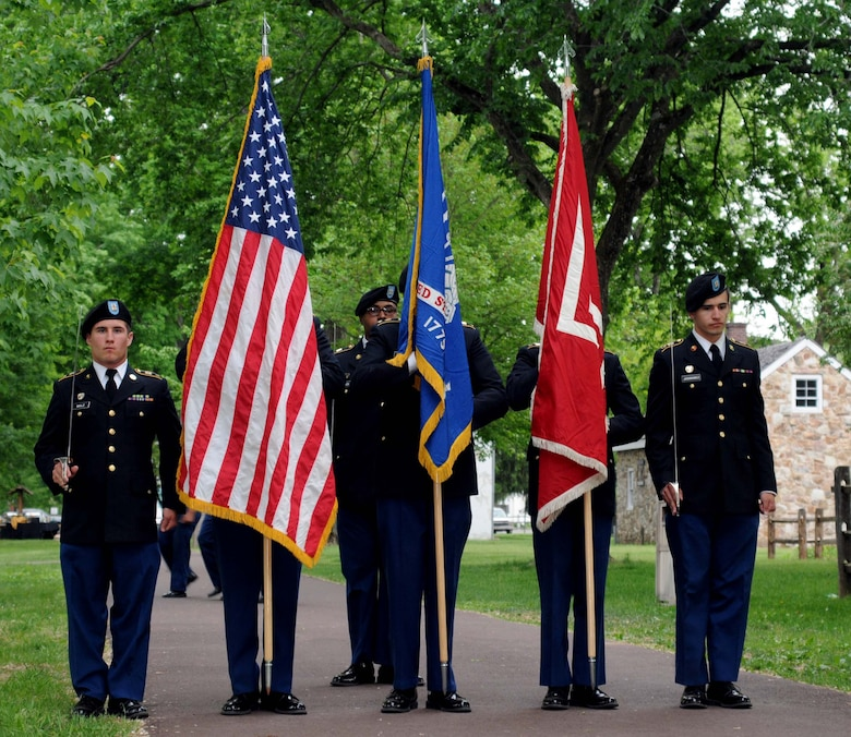 Members of the U.S. Army Reserve Officer Training Corps from Temple University, Philadelphia, present the colors during the distinguished service award dinner for retired Maj. Gen. Wesley Craig May 16, 2015, Washington Crossing Historic Park, Washington Crossing, Pennsylvania. Craig, formerly The Adjutant General of the Pennsylvania National Guard, was presented with the 2015 Mary G. Roebling Award. (U.S. Air National Guard photo by Tech. Sgt. Andria Allmond/Released)