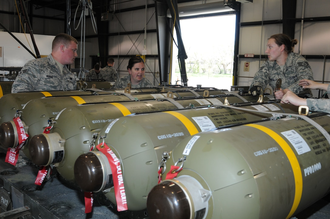 148th Fighter Wing Munition Airmen prepare weapons for Combat Hammer, May 1, 2015 while at Hill AFB, Utah.  Combat Hammer is a Weapons System Evaluation Program (WSEP) that evaluates the entire weapon process, from build-up to employment.  (U.S. Air National Guard photo by Master Sgt. Ralph Kapustka)