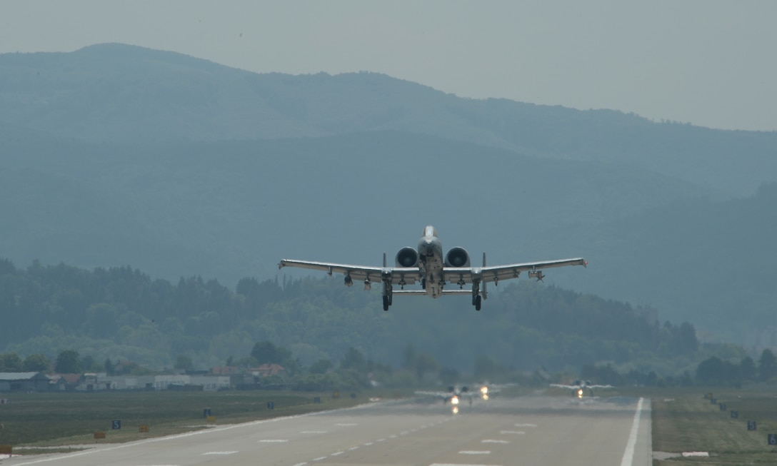 A U.S. Air Force A-10 Thunderbolt II attack aircraft assigned to the 354th Expeditionary Fighter Squadron takes off during a theater security package deployment at Sliac Air Base, Slovakia,  May 20, 2015. The U.S. and Slovak air forces will conduct training aimed to strengthen interoperability and demonstrate the countries' shared commitment to the security and stability of Europe. (U.S. Air Force photo by Senior Airman Dylan Nuckolls/Released)