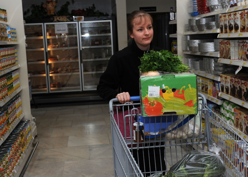 Chef Hannah McWilliams, Incirlik Unit School Culinary Arts teacher, shops for items for her class Jan. 23, 2015 at Incirlik Air Base, Turkey. McWilliams' Culinary Arts class is a new career and technical education course designed to prep students for a post-secondary culinary education or career. (U.S. Air Force photo by Tech. Sgt. Taylor Worley)